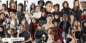 Cover jubileumnummer ELLE oktober 2019 gefotografeerd door Pablo Delfos met 30 modellen