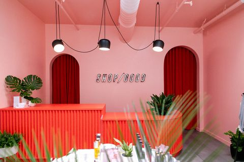 Red, Pink, Interior design, Ceiling, Lighting, Room, Line, Textile, Table, Peach,