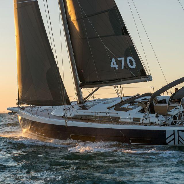 le nouveau dufour 470, chantier dufour yachts, baie de quiberon le 16 mars 2021, photo © jean marie liot  dufour yachts