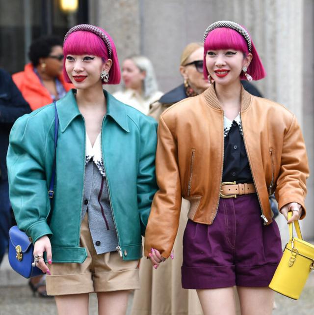 Street fashion, Clothing, Pink, Fashion, Yellow, Blazer, Snapshot, Outerwear, Footwear, Jacket,