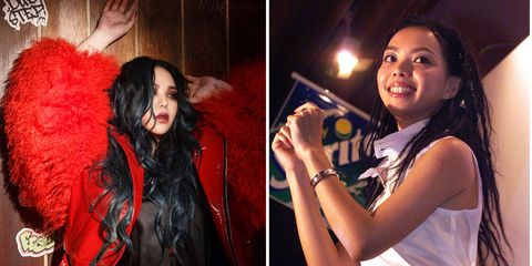 Red, Black hair, Lip, Fun, Long hair, Event, Photography, Gesture, Performance,