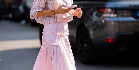 Pink, White, Street fashion, Clothing, Fashion, Dress, Snapshot, Footwear, Human, Leg,