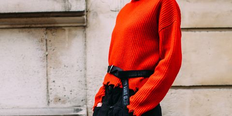 Red, Orange, Clothing, Street fashion, Fashion, Outerwear, Shoulder, Neck, Sleeve, Sweater,