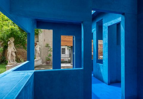 Blue, Property, Architecture, House, Majorelle blue, Building, Real estate, Room, Home, Tree,