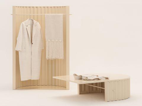 Furniture, Clothes hanger, Table, Wood, Room, Wardrobe, Beige, Cupboard, Shelf, Plywood,