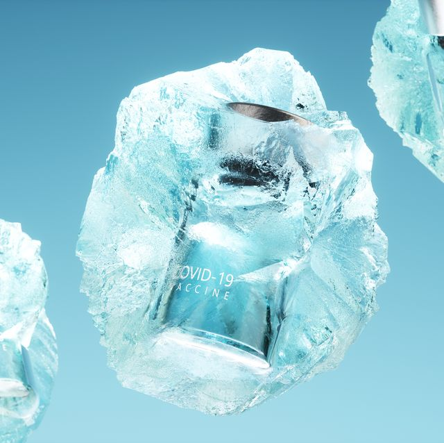 covid 19 vaccine bottles inside ice