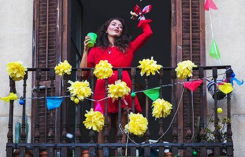 girl dancing on balcony