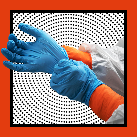 Orange, Blue, Glove, Hand, Finger, Electric blue, Gesture, Stock photography,