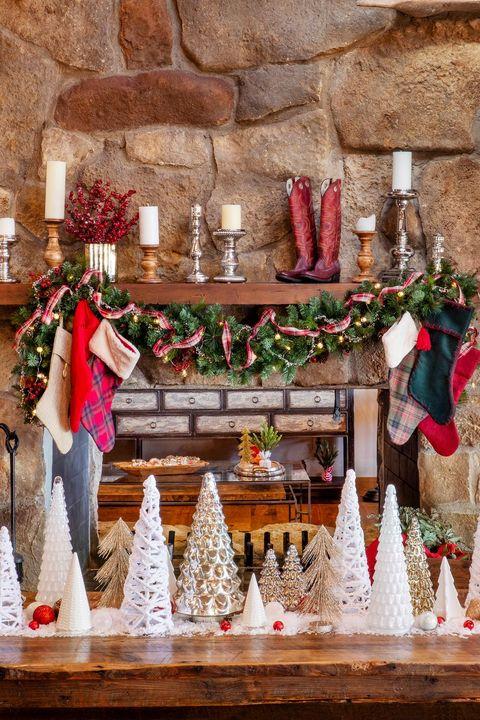 cowboy boots christmas mantel decor
