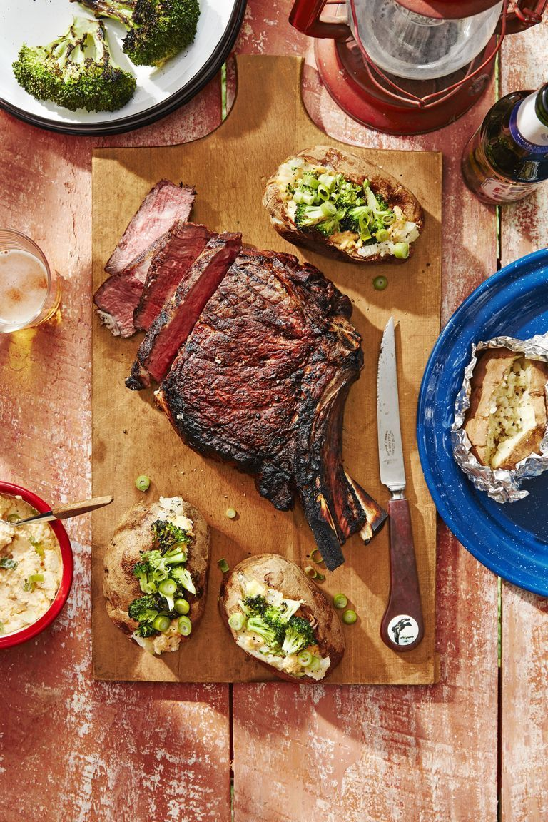 Cowboy Steaks and Potatoes With Broccoli and Cheddar-Scallion Spread