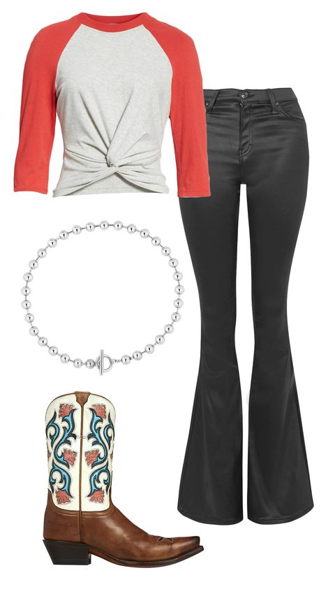 Clothing, White, Footwear, Red, Sleeve, Boot, Brown, Jeans, T-shirt, Riding boot,