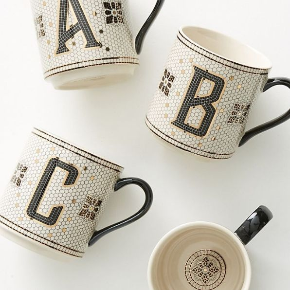 gifts for coworkers, monogram mug and keyboard cover