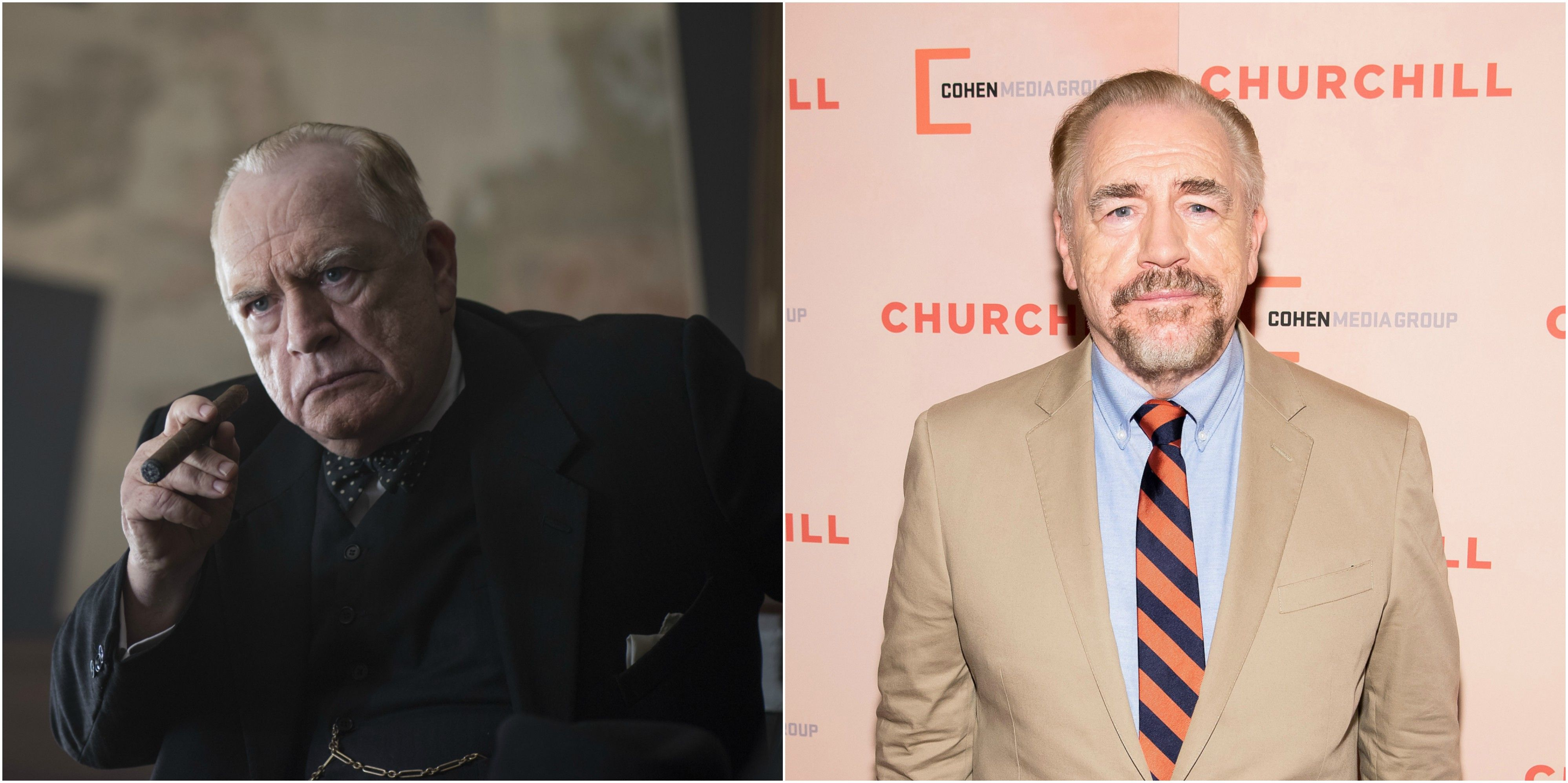 Brian Cox as Churchill; Cox at the New York Premiere of Churchill