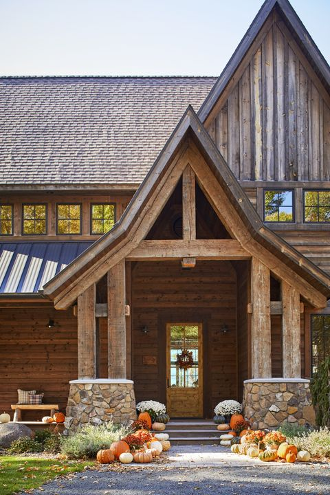 cozy cabin fall porch decor