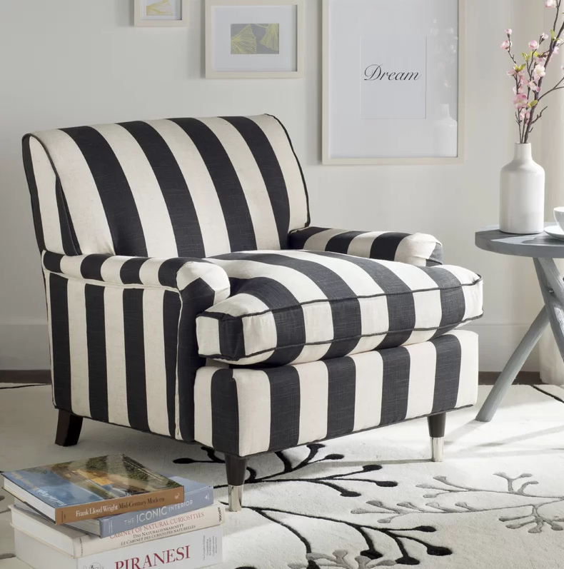 cozy chairs - blaire black and white armchair
