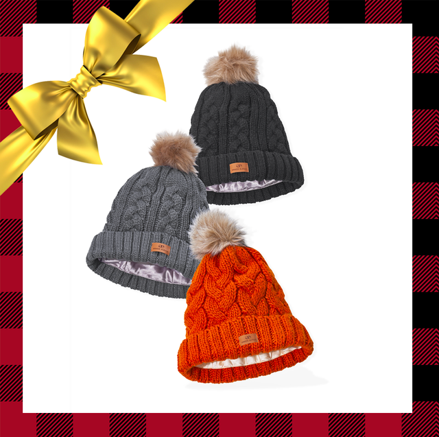 knitted beanie hats and furry slippers
