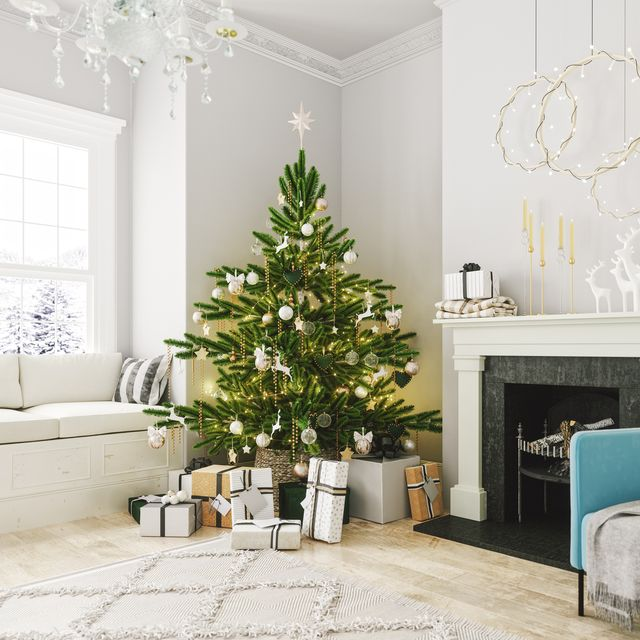 cozy living room with fireplace and christmas decoration