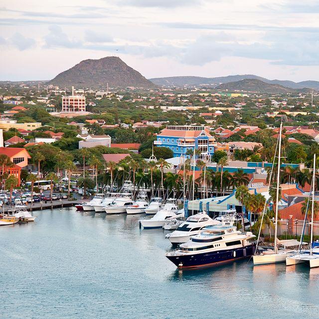 cphfkt a view of the main harbor on aruba looking inland dutch province named oranjestad, aruba   beautiful carribean island