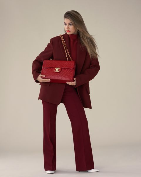 Clothing, Standing, Shoulder, Fashion, Maroon, Joint, Outerwear, Suit, Pantsuit, Trousers,