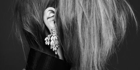 Earrings, Hairstyle, Style, Fashion accessory, Darkness, Black, Monochrome photography, Body piercing, Black-and-white, Long hair,