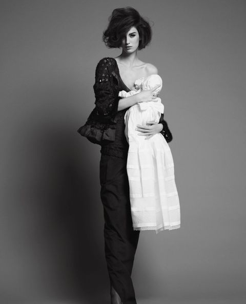 White, Black, Clothing, Standing, Fashion, Joint, Shoulder, Dress, Black-and-white, Fur,