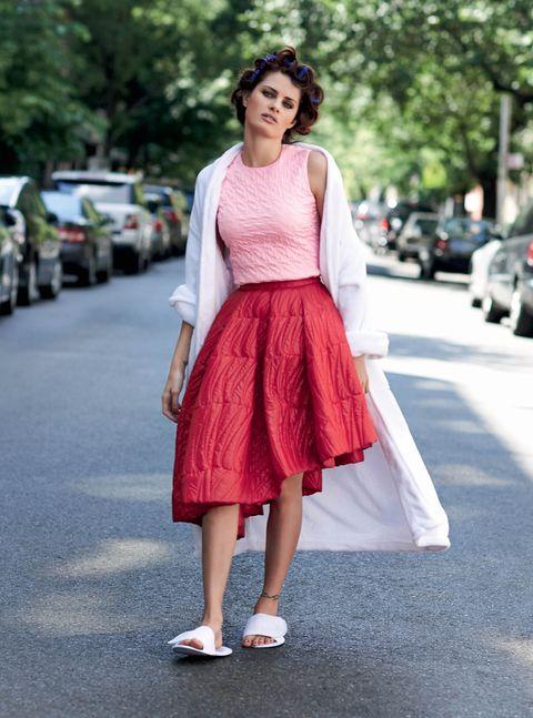 Clothing, Pink, White, Photograph, Street fashion, Dress, Fashion, Fashion model, Snapshot, Footwear,