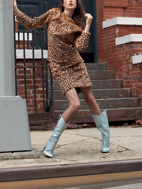 Clothing, Fashion, Tights, Shoulder, Fashion model, Beauty, Brown, Footwear, Leg, Street fashion,