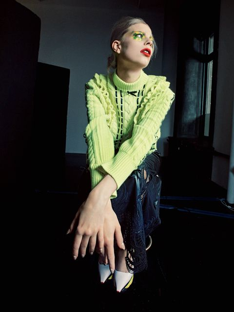 Green, Fashion, Yellow, Fashion design, Lip, Hand, Cool, Textile, Performing arts, Fictional character,