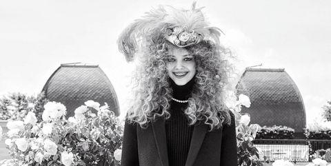 Style, Monochrome, Winter, Costume accessory, Blazer, Headgear, Black, Monochrome photography, Fur, Costume hat,