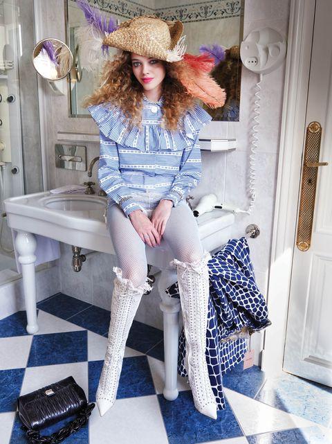 Clothing, Blue, Pink, Shoulder, Fashion, Leg, Jeans, Hat, Tights, Street fashion,