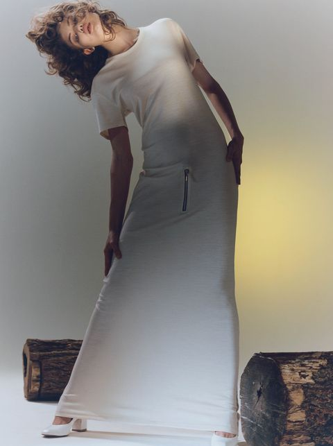 White, Clothing, Shoulder, Fashion, Jeans, Waist, Standing, Dress, Fashion design, Joint,