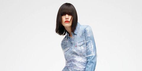 Denim, Clothing, Jeans, White, Blue, Standing, Shoulder, Waist, Fashion, Textile,