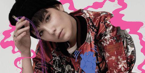 Pink, Magenta, Fashion accessory, Purple, Cap, Pattern, Fashion, Black hair, Roller skates, Baseball cap,