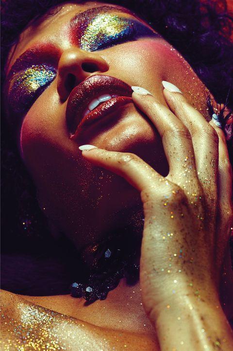 Lip, Eyelash, Liquid, Nail, Music artist, Close-up, Cosmetics, Makeover, Eye shadow, Eye liner,