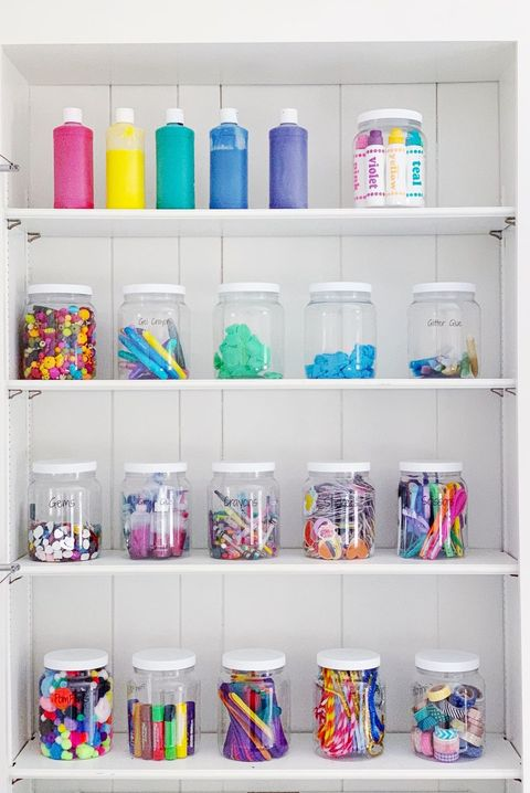 craft room organization - toy jars