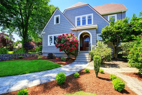 Home, Property, House, Residential area, Yard, Real estate, Garden, Lawn, Landscaping, Building,