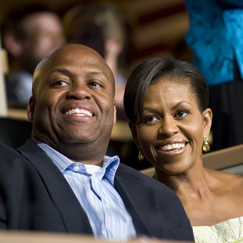 michelle obama and her brother craig robinson attend the democratic national convention in denver photo by rick friedmancorbis via getty images