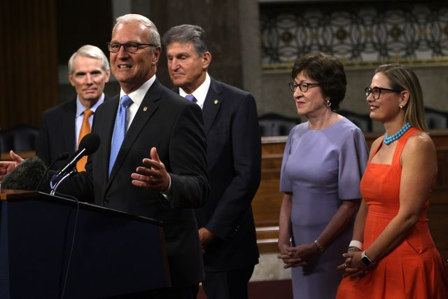 washington, dc   july 28 us sen kevin cramer r nd 2nd l speaks as l r sen rob portman r oh, sen joe manchin d wv, sen susan collins r me and sen kyrsten sinema d az listen during a news conference after a procedural vote for the bipartisan infrastructure framework at dirksen senate office building july 28, 2021 on capitol hill in washington, dc the senate has advanced the bipartisan infrastructure framework with the vote of 67 32 photo by alex wonggetty images