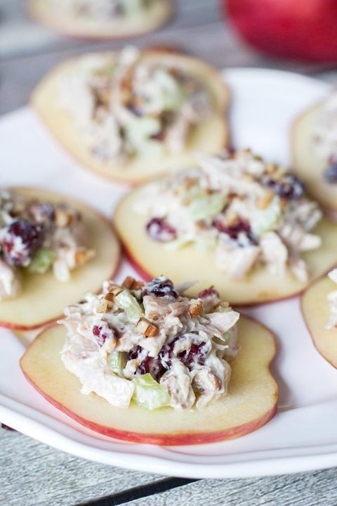 cranberry chicken salad on apple slices