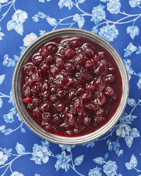 homemade cranberry sauce with blue floral background
