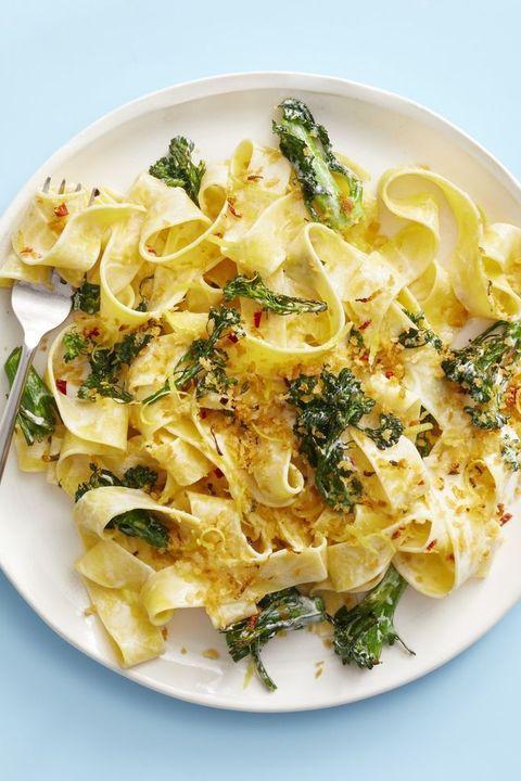 creamy broccolini pasta with chile breadcrumbs
