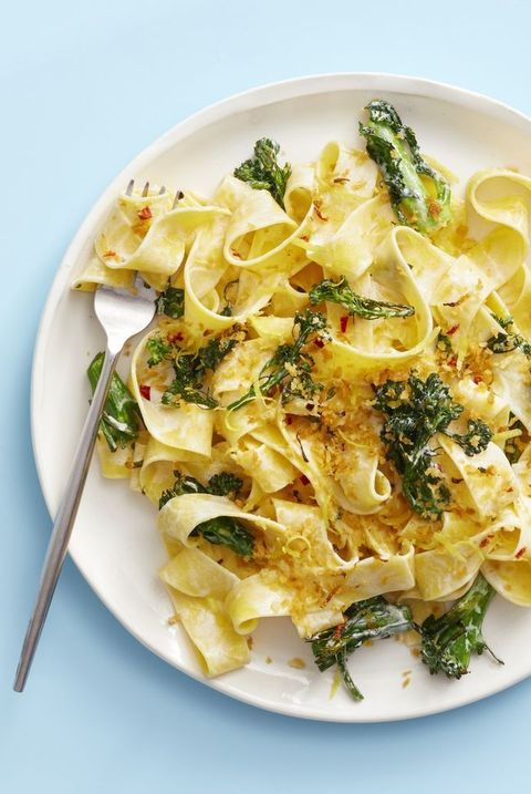 dinner ideas for two -Creamy Broccolini Pasta With Chile Breadcrumbs