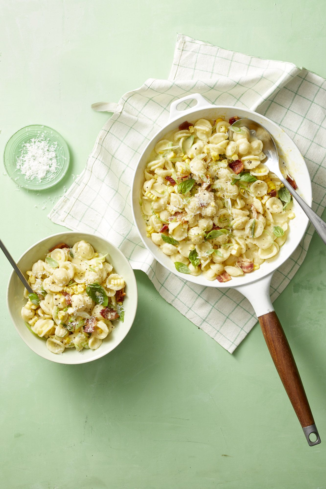 Creamy Corn Pasta with Bacon and Scallions