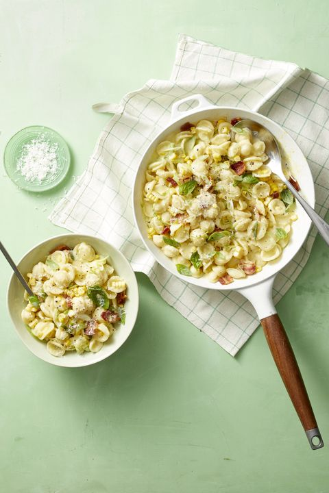 bbq side dishes creamy corn pasta with bacon and scallions