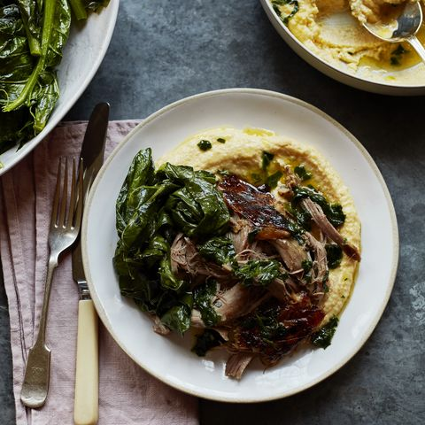creamy polenta and wilted spring greens