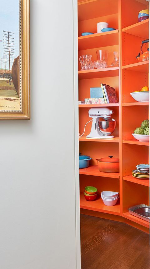 orange paint colors in a kitchen pantry