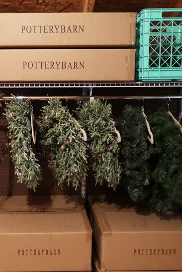 attic storage holiday wreaths