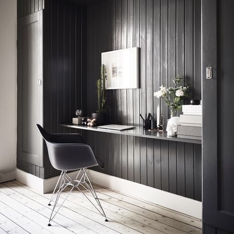 wood panelled home office