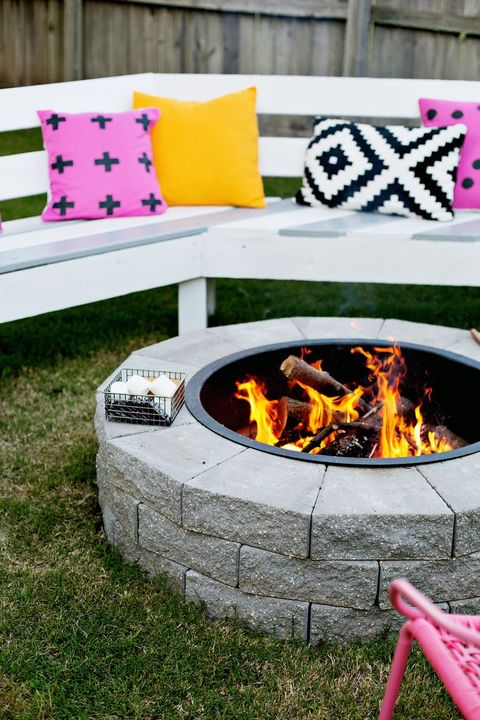 orange, backyard, yellow, fire, table, flame, yard, furniture, grass, tree,