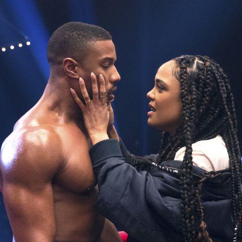 Michael B. Jordan (Adonis) and Tessa Thompson (Bianca) in Creed II